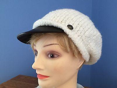 Ralph Lauren Women's Fisherman/Cabbie Hat NWT Ivory w/Blk Leather Brim