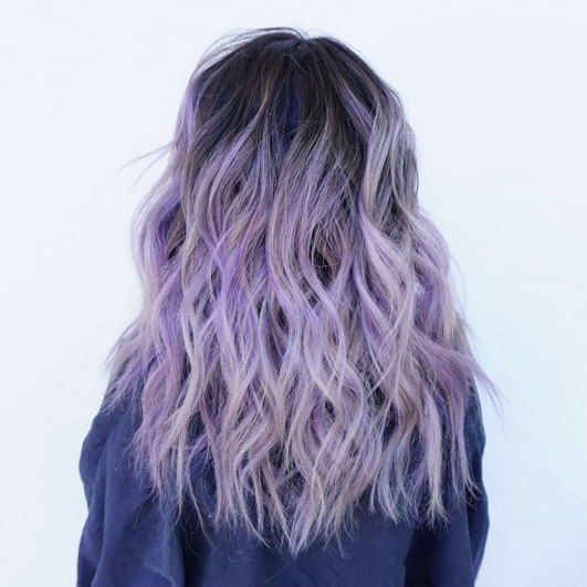 hair dye ideas colorful, Purple is the new black ! We looove this lilac hair color by @lo.reeeann ! The dark roots totally made this look have an edgier feel .