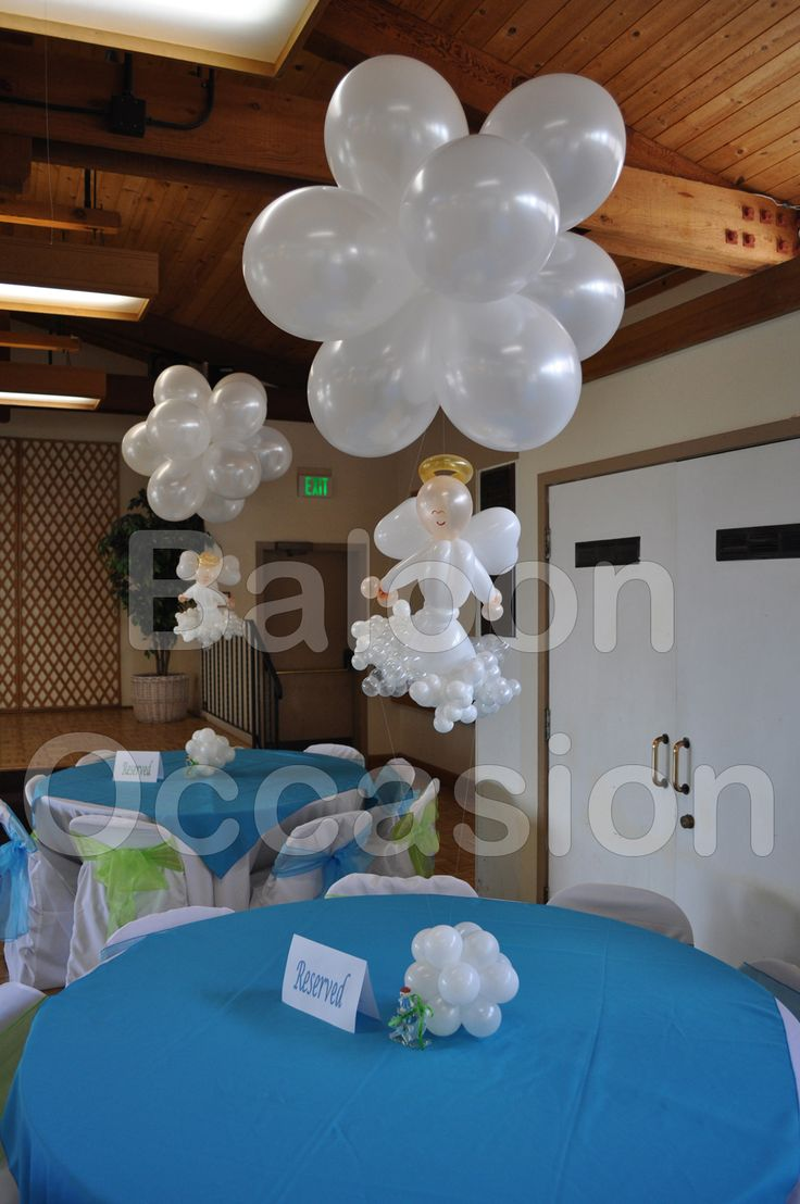 Floating angels centerpieces balloon decor for baptism for Balloon decoration ideas for christening