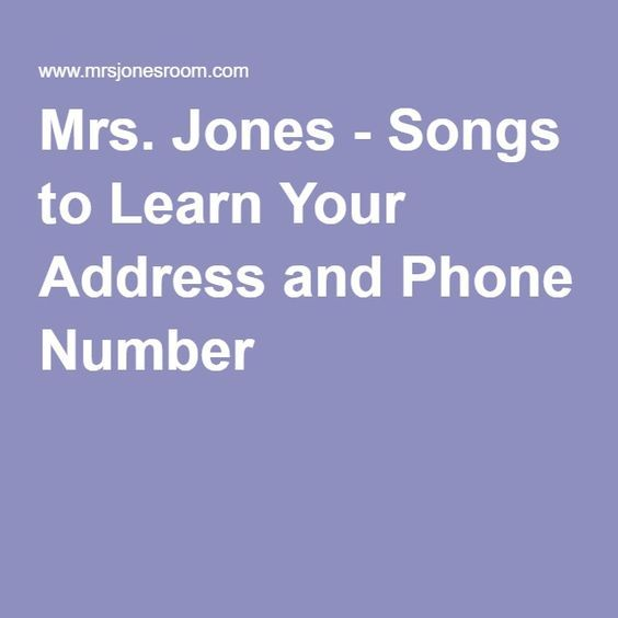 Mrs. Jones - Songs to Learn Your Address and Phone Number