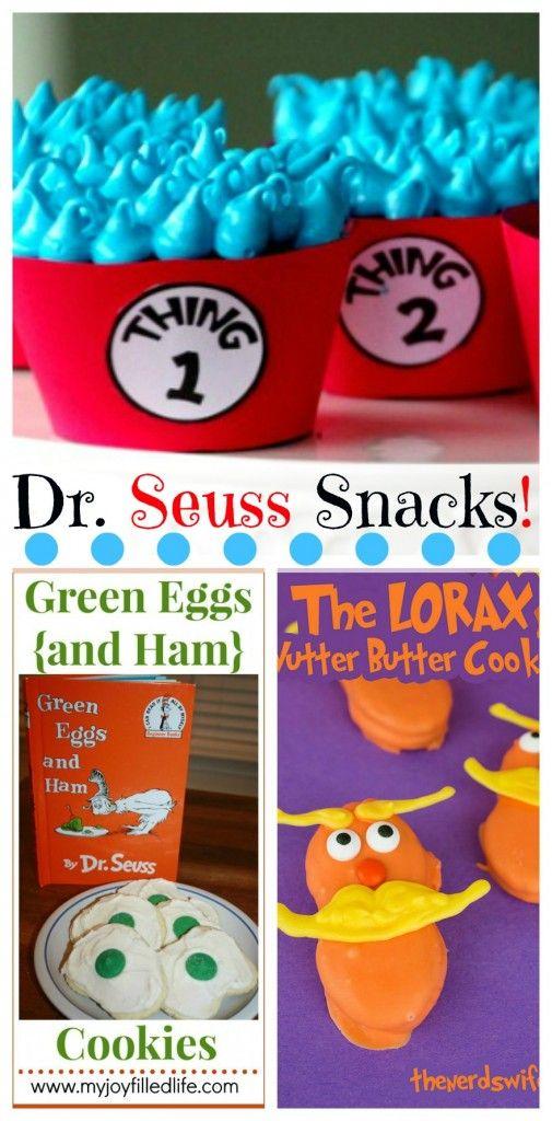 Big YUMMY List of Dr. Seuss Snacks - over 40! http://www.freehomeschooldeals.com/dr-seuss-snacks/l