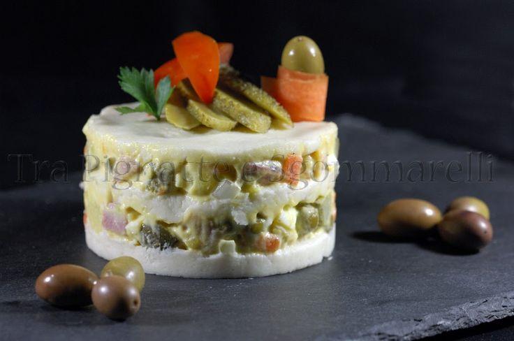 Le mie ricette - Millefoglie di insalata russa e pane alla mozzarella | Tra pignatte e sgommarelli