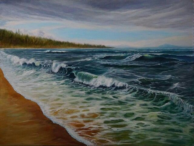 """Waves of Peace"" 30x40  Original Painting by Karen Sargent, Acrylic on Canvas with a custom frame by Walter Frankoski.  Available for sale $1200"