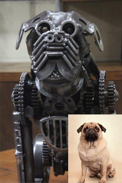 Riek's Mohane Studio: PUG Dog Metal Art Sculpture