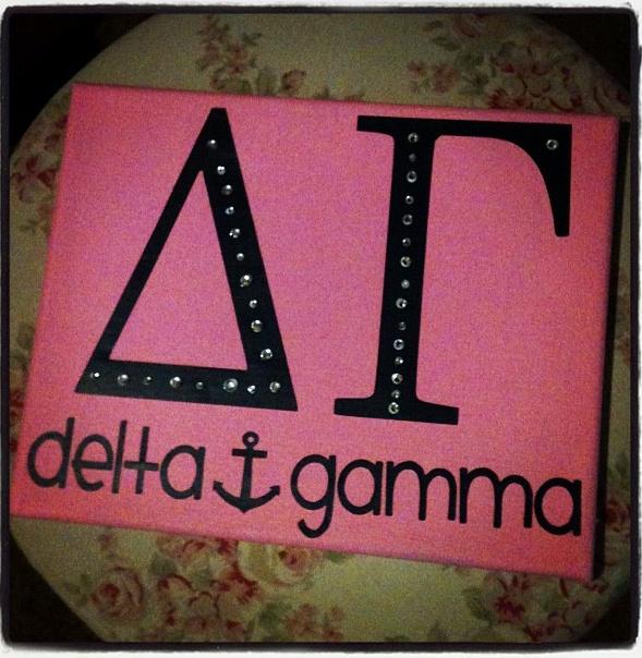 Delta Gamma Canvas + Rhinestones.