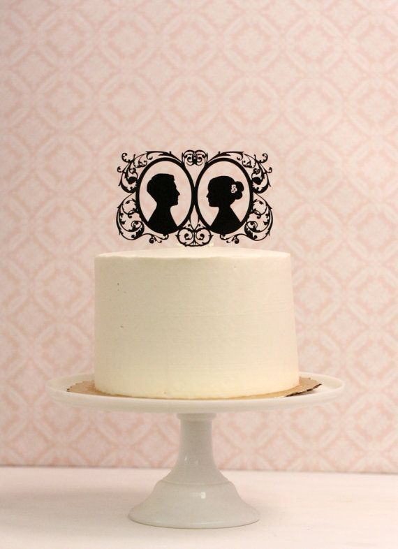 Top your wedding cake with a Custom Silhouette Wedding Cake Topper - Personalized with YOUR Silhouettes from Simply Silhouettes