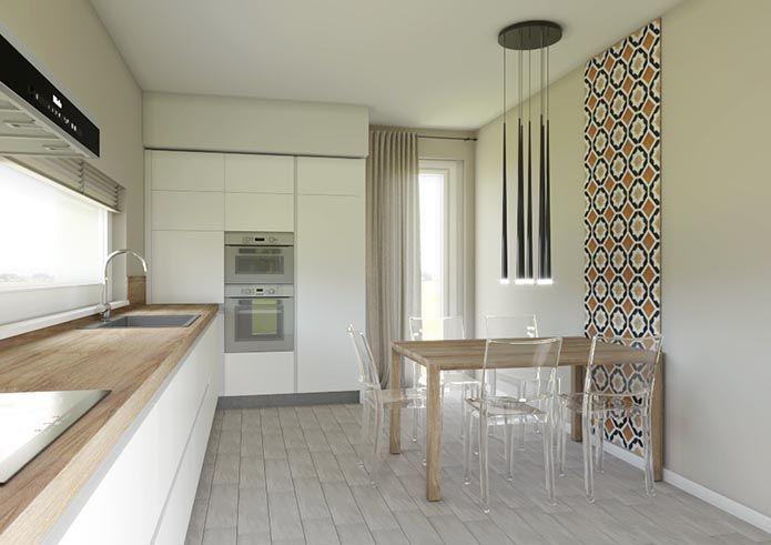 Cucina Laccata Bianco Opaco Con Top In Rovere Miele Arredo Interni Cucina Arredamento Sala Da Pranzo Design Cucine