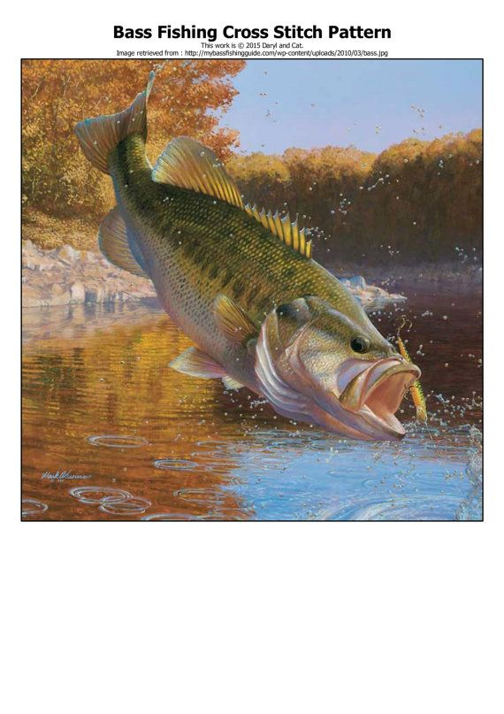 Instant Download Bass Fishing Outdoor Life by DarylandCatStitches
