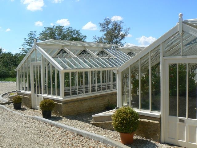 A pair of greenhouses at Whatley Manor Hotel