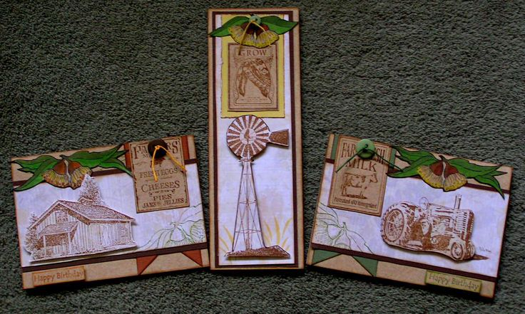 3 Australiana cards (inspired by Angela Combs). Created by A Taylor Made Creations.