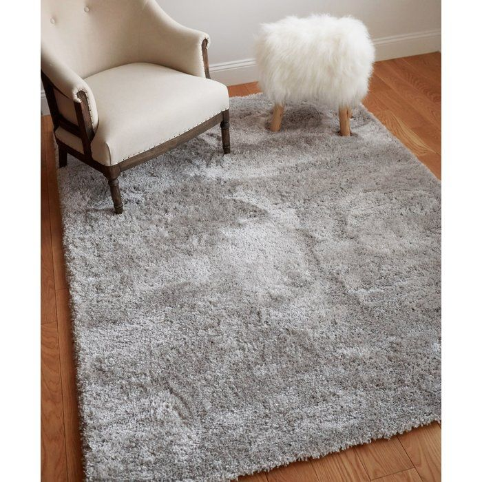 Cervantez Modern Solid Thick Power Loom Silver Area Rug Bedroom Carpet Rugs On Carpet Modern Shag Rugs