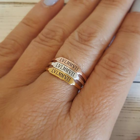 Stackable name rings Tiny Name Ring Custom name ring