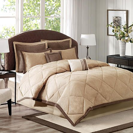 Cannon 7 Piece Microsuede Chocolate/Tan Comforter Set