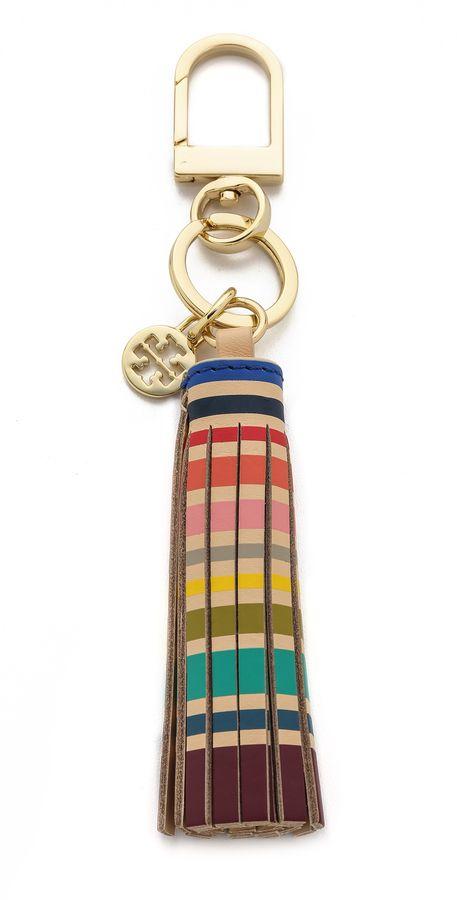 Tory Burch Multi Color Tassel Key Chain
