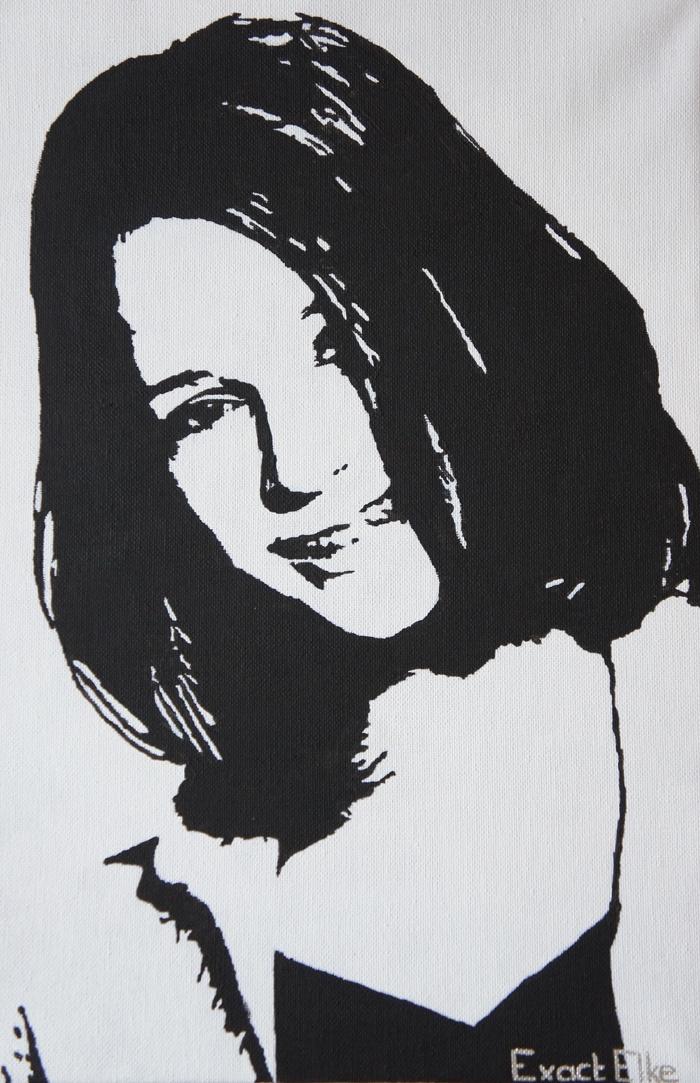 Lisa (13 jr) geschilderd in zwart-wit op een doek van 30 X 40 cm. Een stralend gezicht!