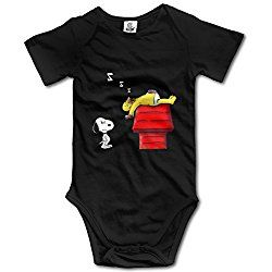 Snoopy Sleeping Dog House Baby Unisex Short Sleeve Bodysuit Romper Jumpsuit Outfits