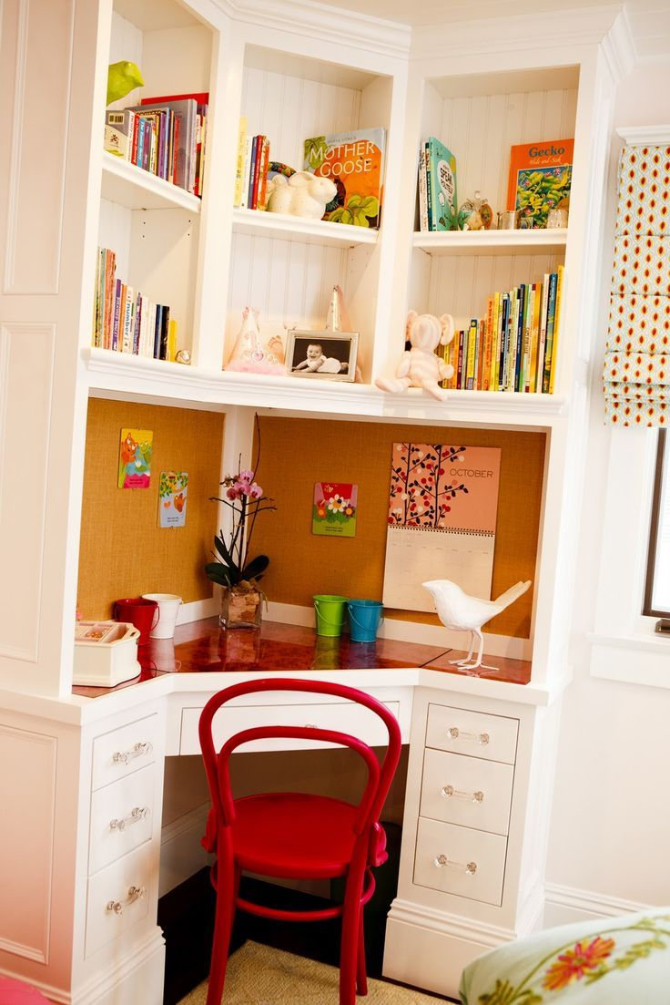 builtin corner desk good space saver for a small room could be feminine or masculine easily great idea for a future craft room
