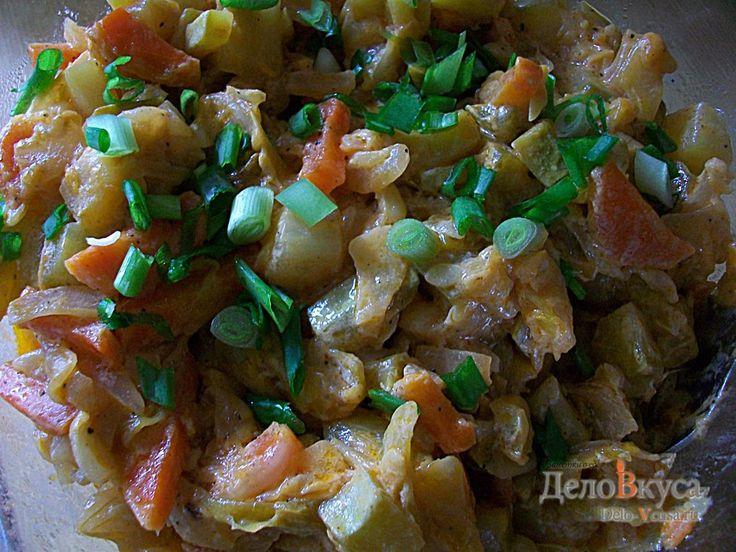 Тушеные кабачки с капустой #кабачки #капуста #овощи #гарнир #рецепты #деловкуса #готовимсделовкуса