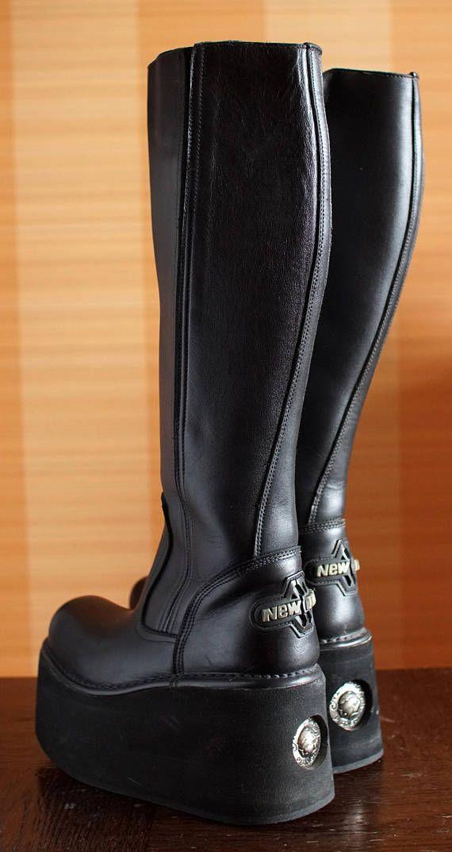 44739f21f18be New Rock platform boots NEPTUNO Custom no buckles no springs black chunky goth  boots gothic lolita m