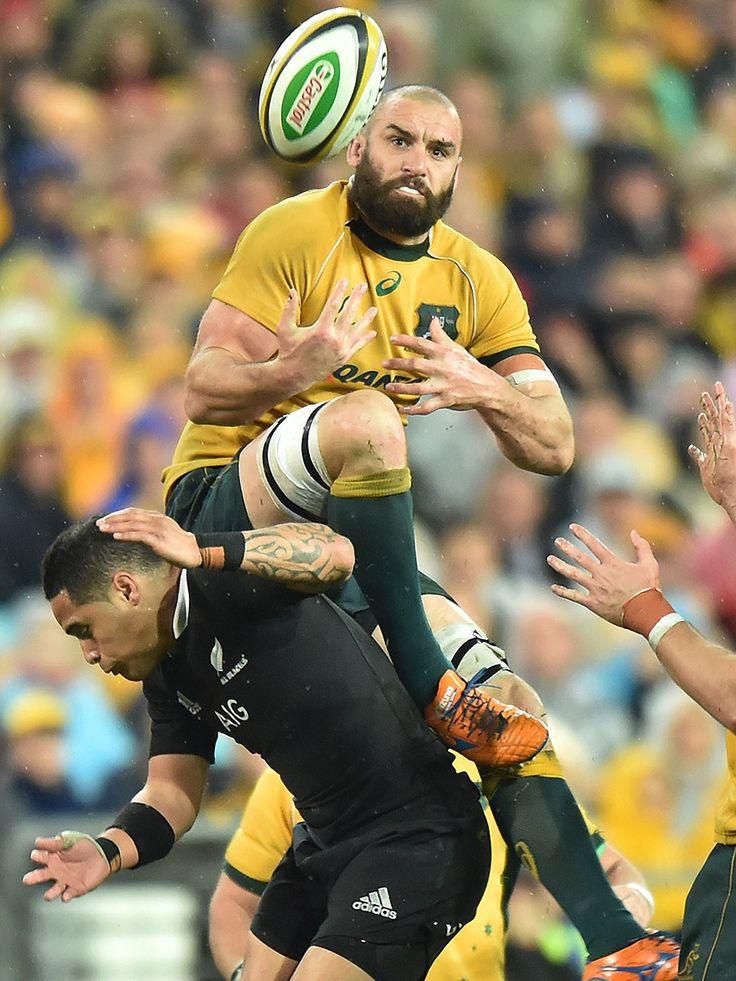 Australia's Scott Fardy wins the ball above New Zealand's Aaron Smith
