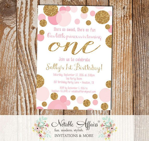 Pink Confetti Dots Sprinkles First Birthday Invitation Any Age Gold And Light 1st Party Ideas Pinterest