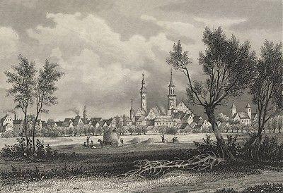 ZÜLLICHAU / Sulechów - Gesamtansicht - Stahlstich 1841