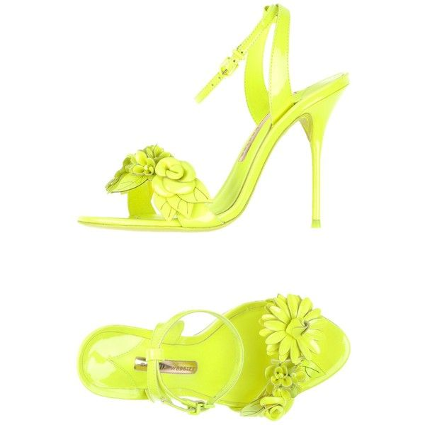 Sophia Webster Sandals ($490) ❤ liked on Polyvore featuring shoes, sandals, yellow, sophia webster shoes, neon yellow sandals, neon yellow shoes, ankle wrap sandals and yellow shoes