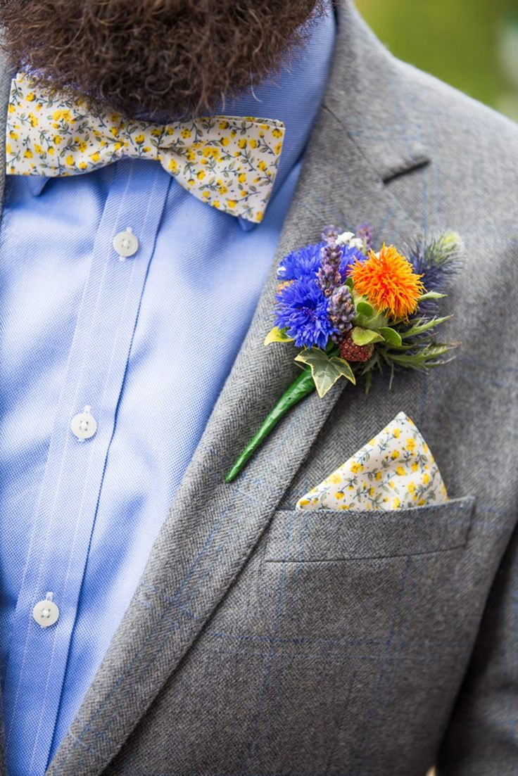 Wild Buttonhole Mrs Bow Tie Yellow Floral Groom Country Farm Festival Yellow Blue Wedding http://vevi-wedding-photography.co.uk/