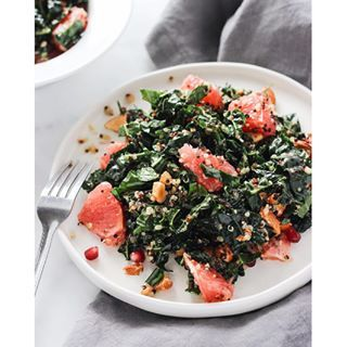 "Just finished a bowl of this simple grapefruit kale salad for lunch. It's packed with cancer fighting antioxidants, fiber, and protein. Perfect for hitting the ""reset"" button on your diet after the holidays. If you are curious, the recipe is up on the blog!"