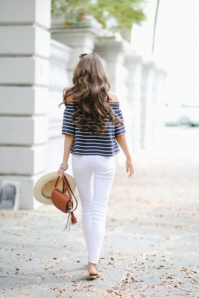 Southern Curls & Pearls f Shoulder Top in Charleston