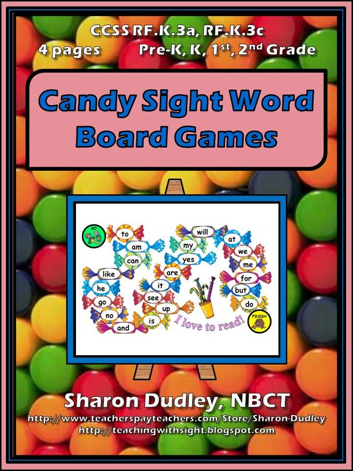 These Sweet Candy Sight Word Board Games Contain A Total Of 88 The Most Commonly Used Dolch Words Print Colorful On X Paper To Allow