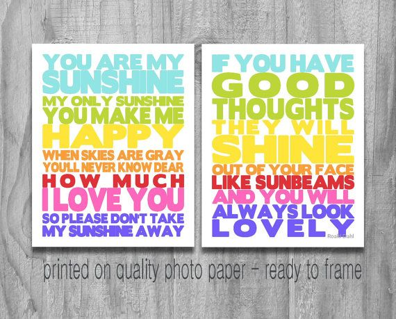 SALE You Are My Sunshine and Good Thoughts Roald Dahl Quote PRINT Set Rainbow Colors Nursery Art Kids Bedroom Decor Baby Shower Gift
