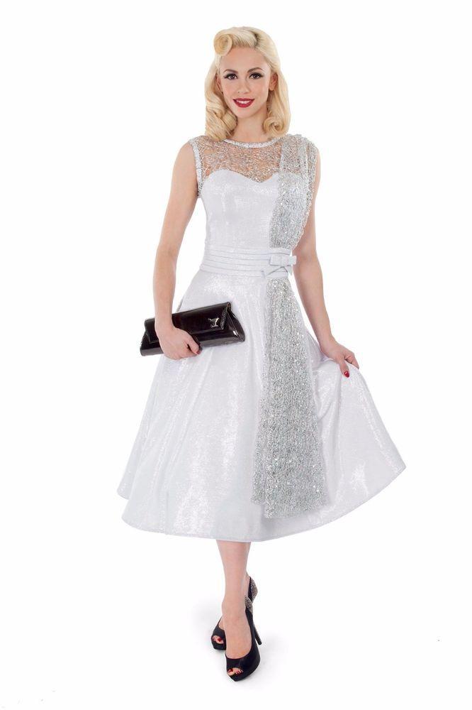 Tatyana Tempest Storm Silver Dream Dress RockABilly PinUp White Wedding XS-4XL  #ClassicSwing #50sWedding