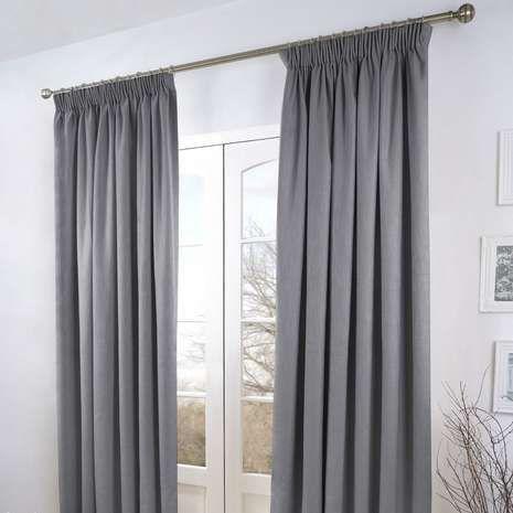 Grey Verbier Thermal Pencil Pleat Curtains | Dunelm
