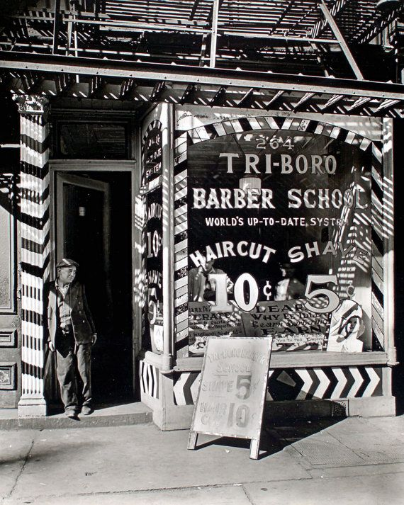 New item in my etsy shopPainted window signs at Tri-Boro Barber School Bowery New York c1935. Copy of photograph by Berenice Abbott for the Federal Arts Project. by PanchromaticaDesigns. Find it here http://ift.tt/2gphiqN