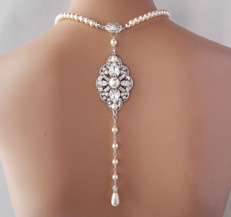 NORINE: Backdrop Necklace - Deco Style Wedding Necklace, Swarovski Crystal and Pearl Necklace — Ambrosia Bridal Shop~Boutique