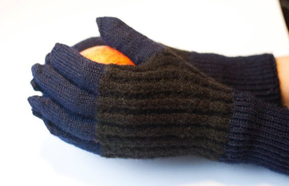 Hand Knitted Gloves Black and navy blue  Arm Warmers by DriadaD