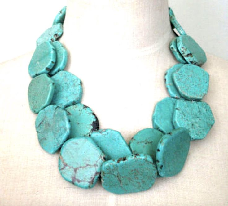 Natural Free Form TURQUOISE (Howlite aka White Turquoise) Gemstone Blue Turquoise color, Fabulous Statement 2 Layers Bib Necklace! by AmeogemJewellery on Etsy