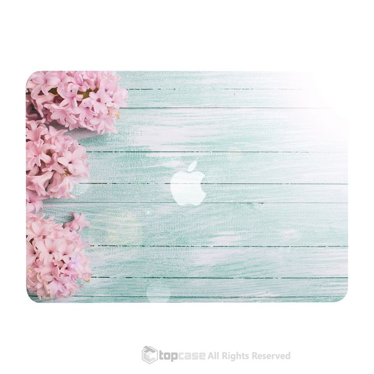 """TOP CASE - Vibrant Summer Series Hard Case Cover for Macbook Air 13""""- Pink Hyacinth Turquoise Wooden"""