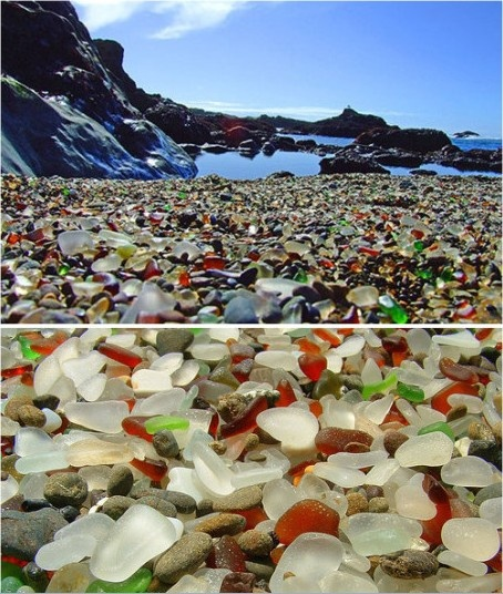Glass beach, California...believe this is on the north edge of Fort Bragg, where Overboard was filmed.
