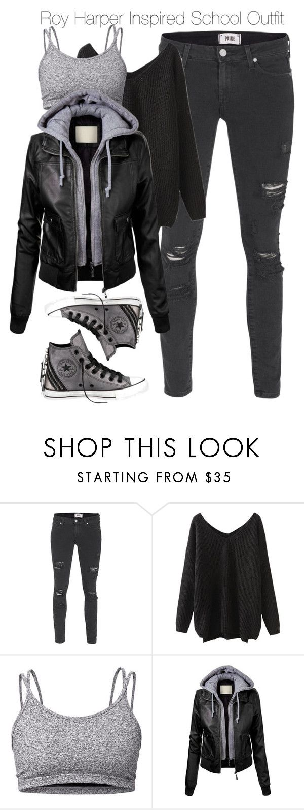 """Arrow - Roy Harper Inspired School Outfit"" by nathj ❤ liked on Polyvore featuring Paige Denim, Lija, Converse, school, Arrow and royharper"