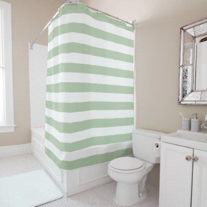 Grayed Jade and White Striped Shower Curtain - white gifts elegant diy gift ideas