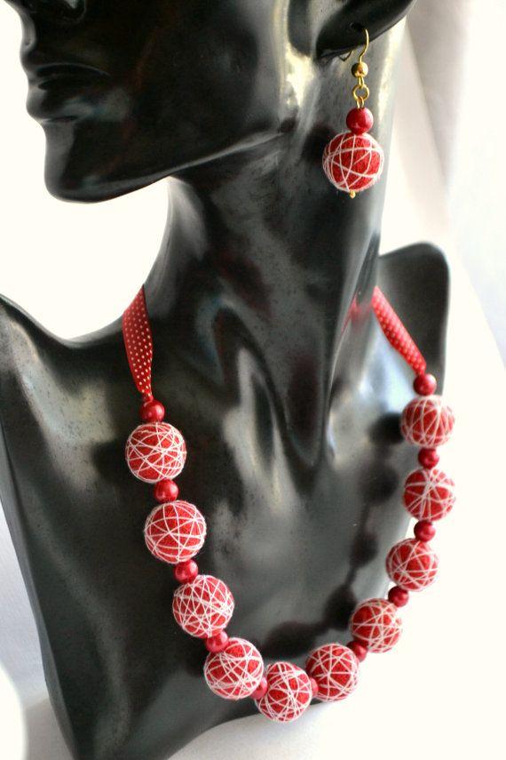 Bracelet and Earrings from Cotton Balls Sugar от OlgaShestova