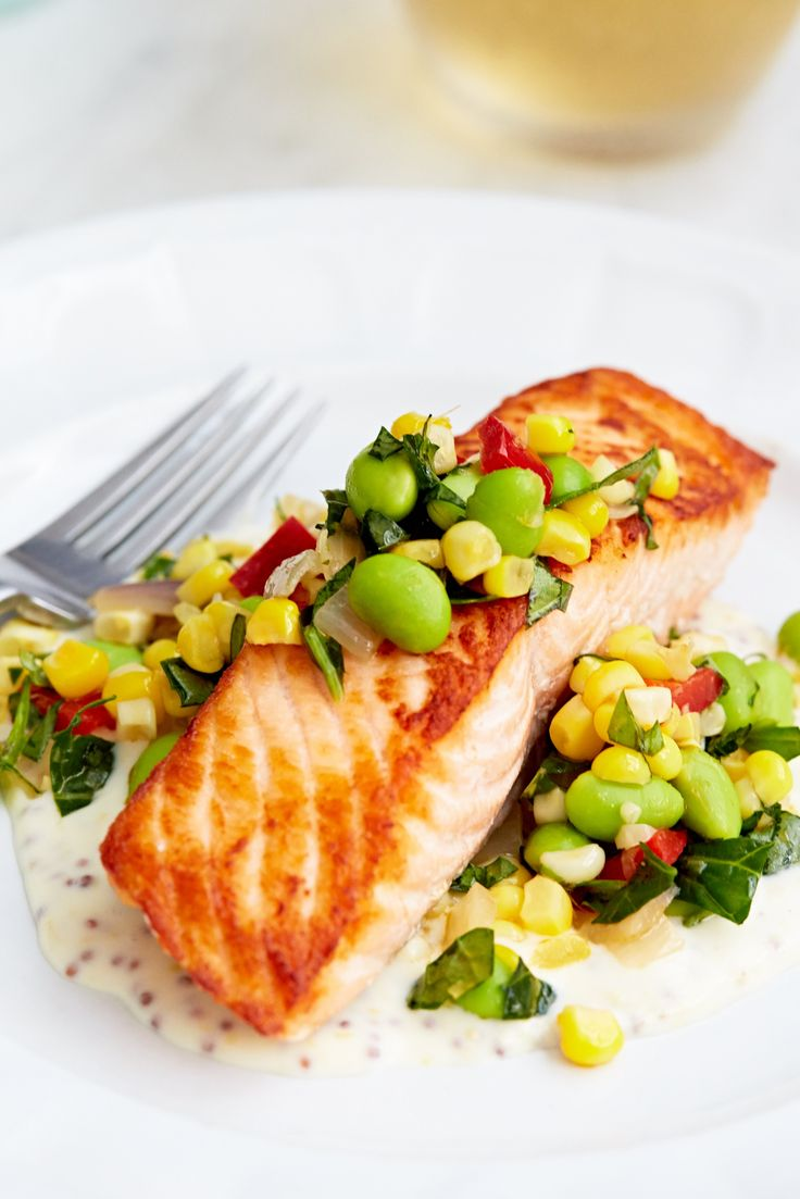 Pan-Roasted Salmon with Summer Succotash Recipe by Giada De Laurentiis @gdelaurentiis http://www.giadadelaurentiis.com/recipes/36/pan-roasted-salmon-with-summer-succotash