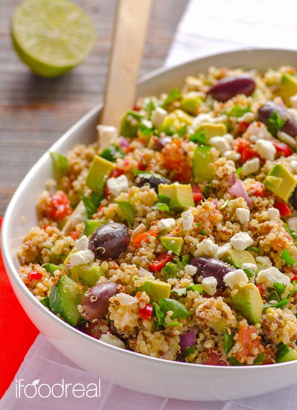 Mediterranean Quinoa Salad - clean & quick salad with feta, olives, tomatoes, cucumbers and avocado .