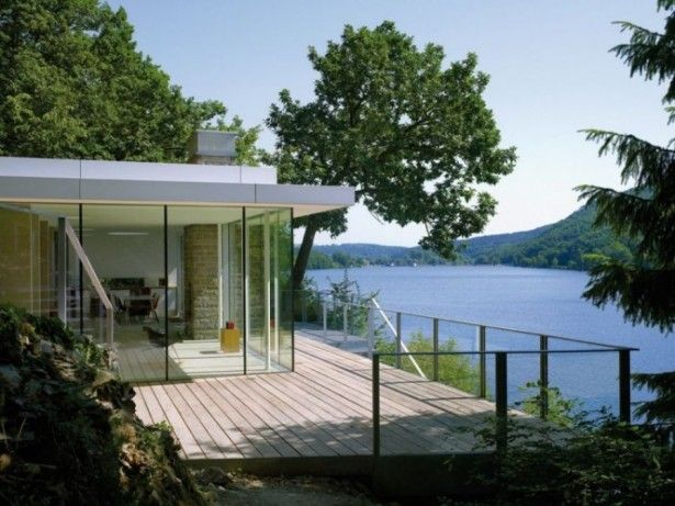 Modern Style House Design in Lake Rur in Kreuzau, Germany: Deck Space Outside The Lake House ~ hivenn.com Modern Home Designs Inspiration