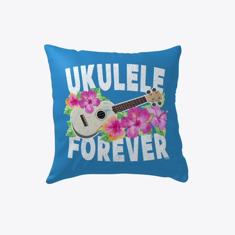Ukulele Forever Denim Blue Pillow -   Front design. Ukulele Forever hibiscus flower and ukulele instrument. For musicians, band teachers, guitar instructors, or anyone with a love for the ukulele. Distressed print for a worn-in look.