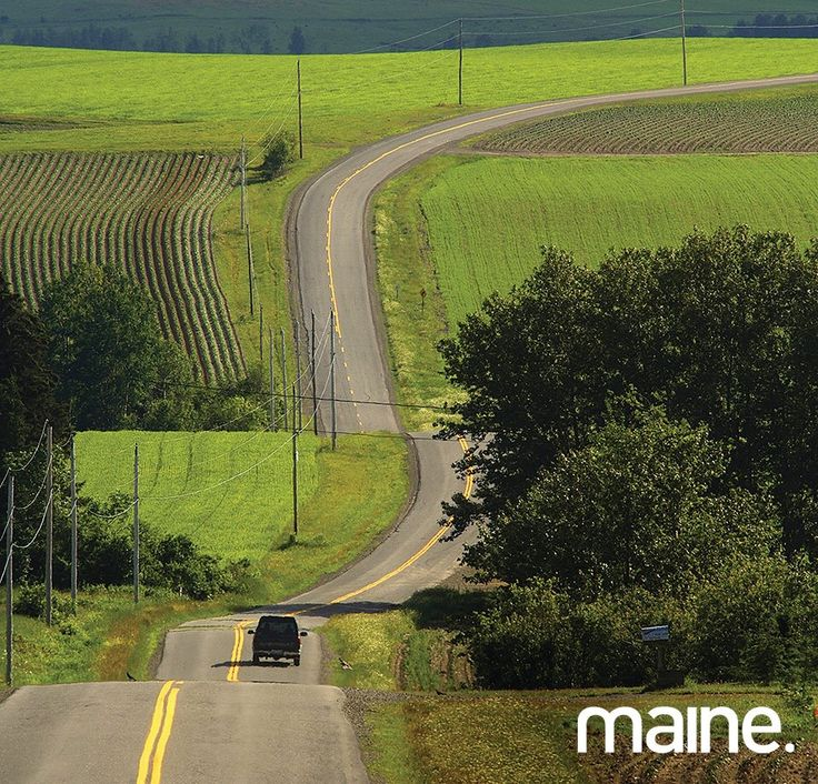 Aroostook County, Maine, a typical Northern Maine road, potato fields, and long winding roads.