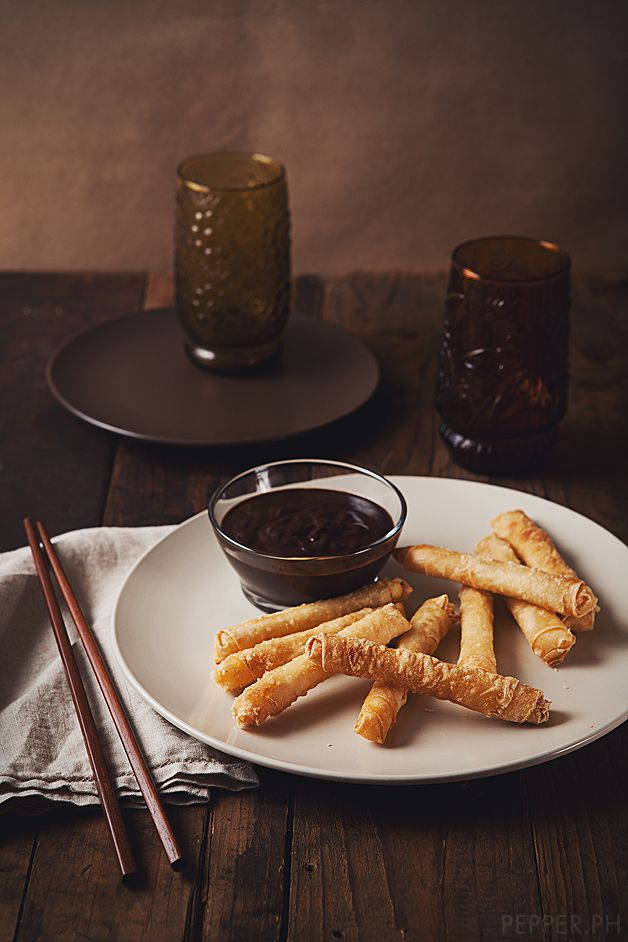 Deep-fried Cheesy Tikoy Spring Roll with Spanish Chocolate Dip