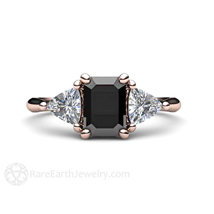 Black Diamond Engagement Ring 3 Stone Vintage Black by RareEarth
